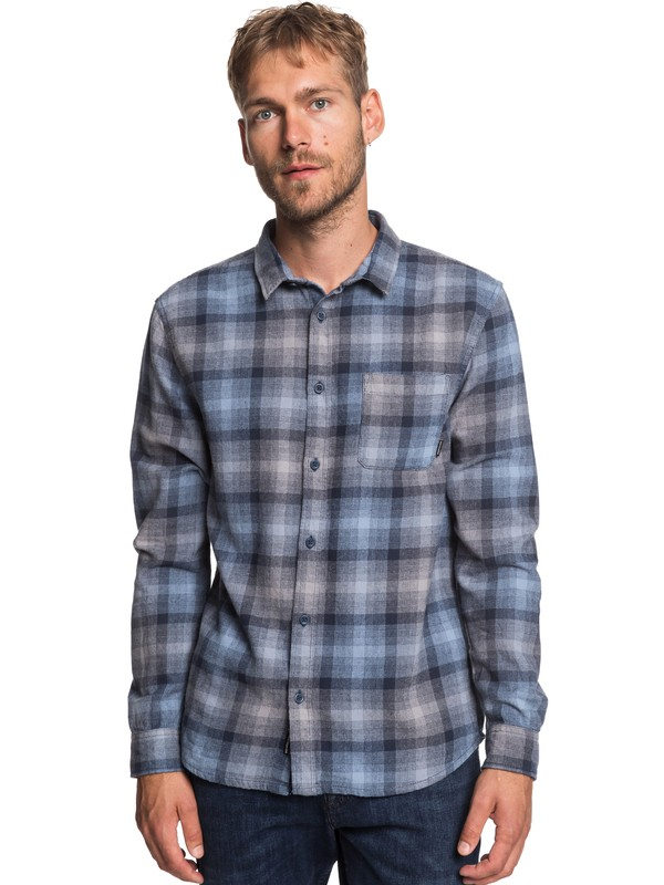 0 Fatherfly Long Sleeve Flannel Shirt Blue EQYWT03787 Quiksilver