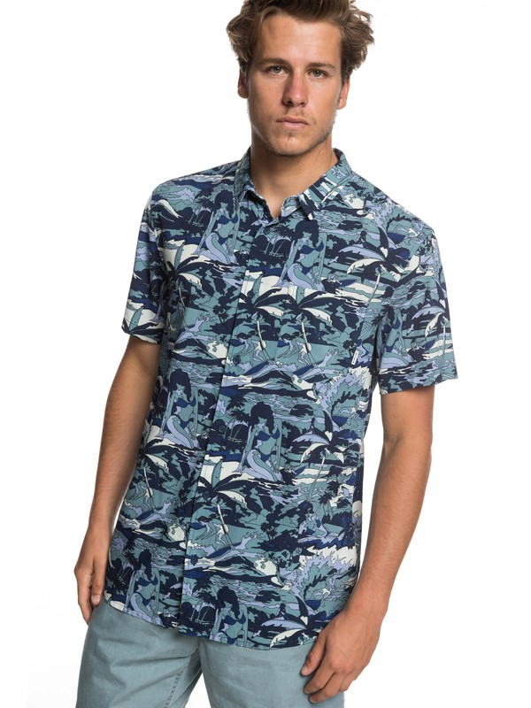 0 Feeling Fine Short Sleeve Shirt Blue EQYWT03797 Quiksilver