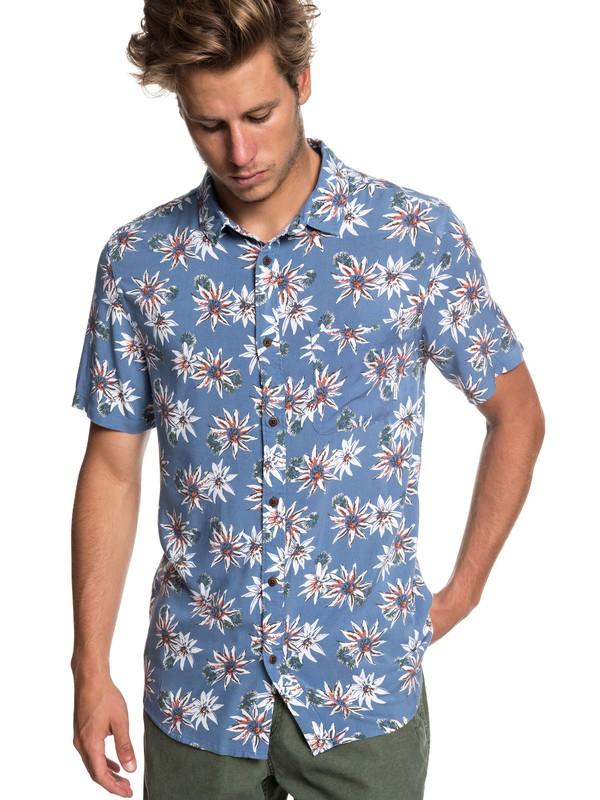 0 Fluid Geometric Short Sleeve Shirt Blue EQYWT03798 Quiksilver