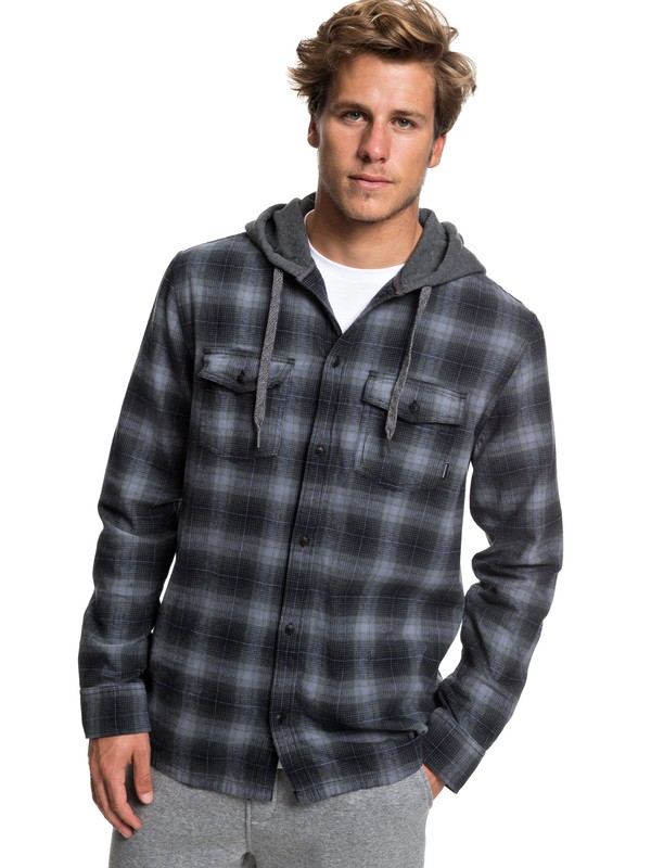 0 Snap Up Long Sleeve Hooded Flannel Shirt Black EQYWT03802 Quiksilver