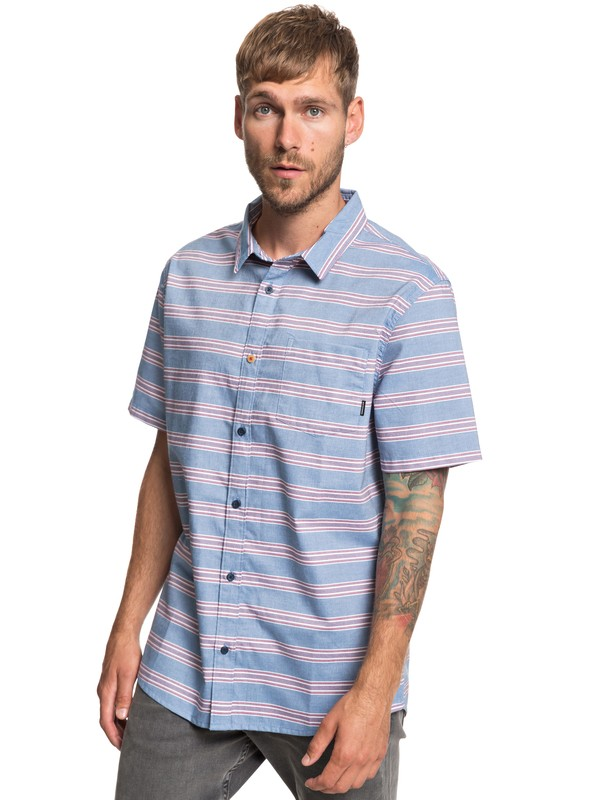 0 Seajam Stripe Short Sleeve Shirt Blue EQYWT03813 Quiksilver