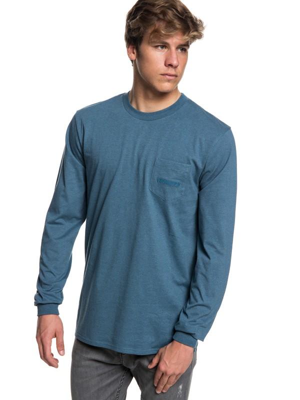 0 Men's The Stitch Up Long Sleeve T-Shirt Blue EQYZT05022 Quiksilver