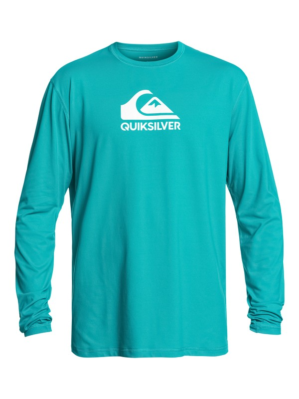 0 Men's Solid Streak Long Sleeve UPF 50 Rash Guard Blue UQYWR03053 Quiksilver