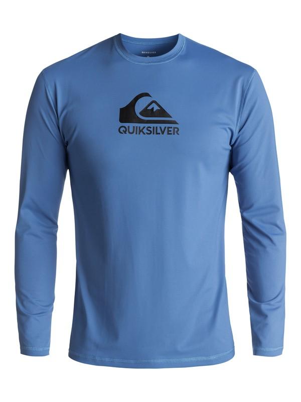 0 Men's Solid Streak Long Sleeve UPF 50 Rash Guard Blue UQYWR03053 Quiksilver