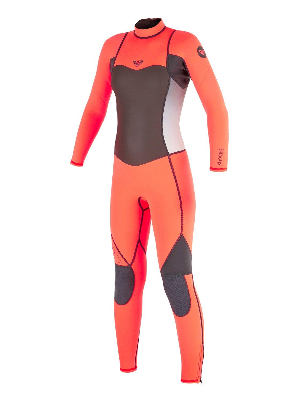 0 Girl s 7-14 3 2mm Syncro Flatlock Back Zip Wetsuit ARGW103008 Roxy 08ba51e2e