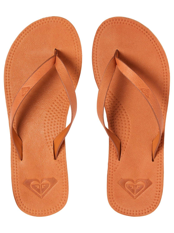 c4d87b82d284 2 Brinn - Leather Flip-Flops for Women Beige ARJL200689 Roxy