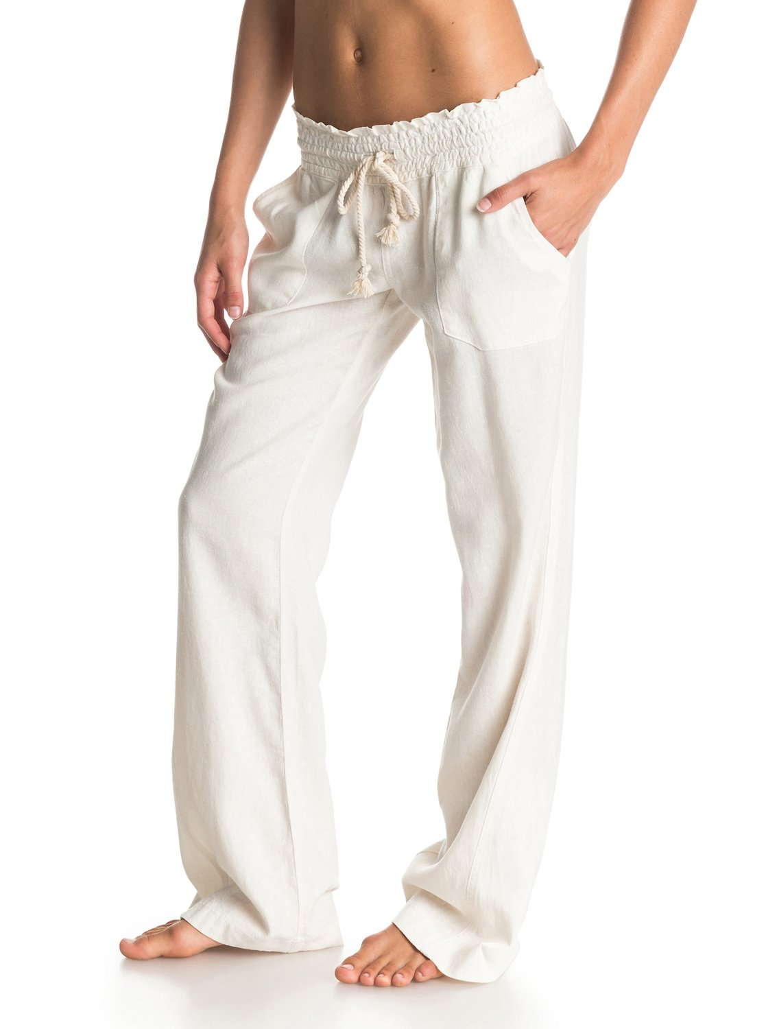 3cd3ad3ef5c 1 Oceanside - Flared Linen Trousers for Women ARJNP03006 Roxy