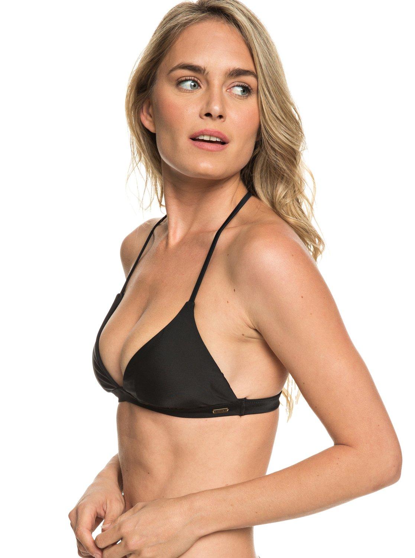 88fc4dd9887e4 0 Printed Strappy Love Reversible Fixed Tri Bikini Top Black ARJX303357 Roxy