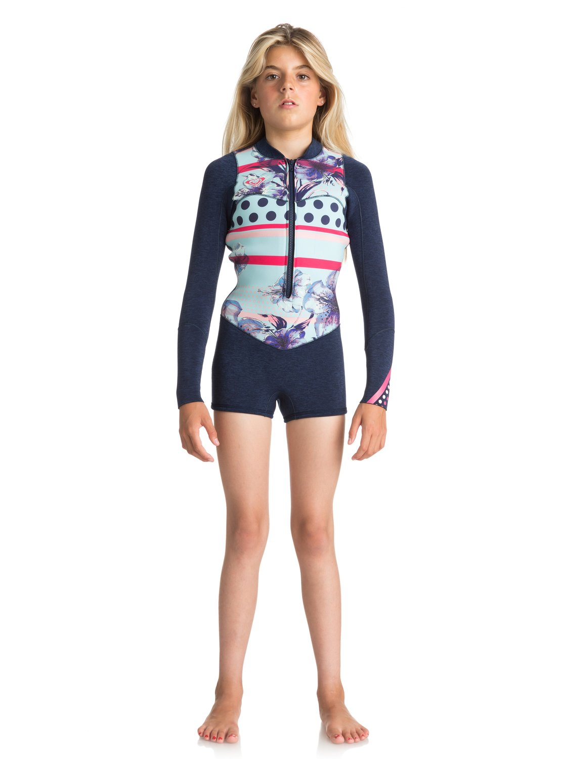 829c283fde 0 2mm POP Surf - Long Sleeve Front Zip Springsuit for Girls 8-16 Blue