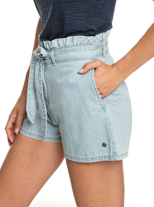 1 Realestate - Short taille haute en denim pour Femme Bleu ERJDS03195 Roxy 2959555a21b