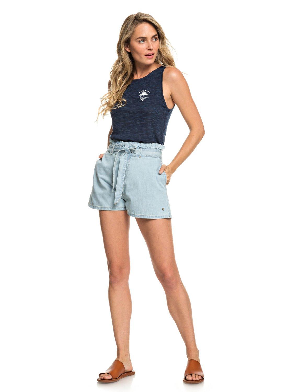 2 Realestate - Short taille haute en denim pour Femme Bleu ERJDS03195 Roxy 3694357abf0