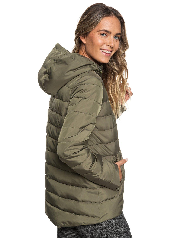 5 Rock Peak Water-Repellent Hooded Padded Jacket Green ERJJK03250 Roxy 33b3f5782fa