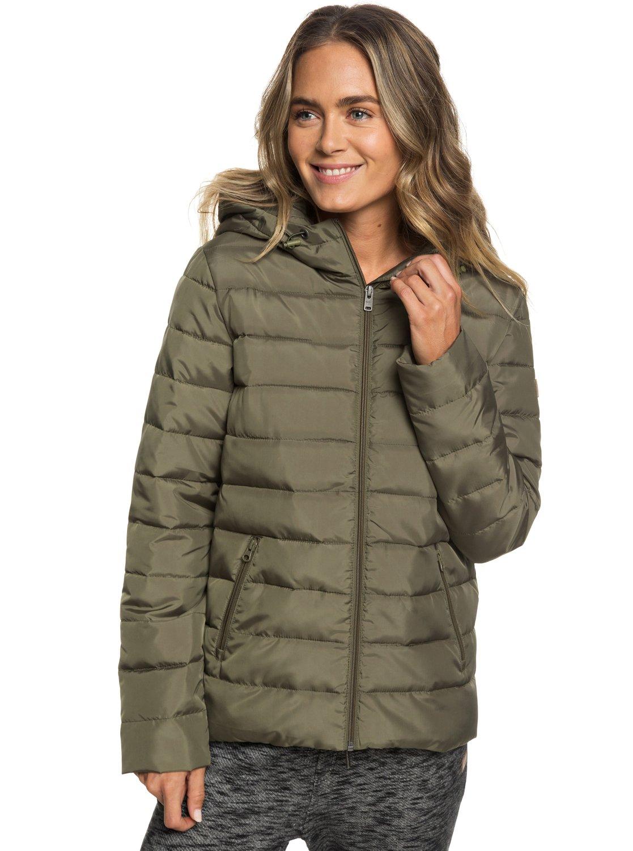 1 Rock Peak Water-Repellent Hooded Padded Jacket Green ERJJK03250 Roxy 3b92d162332