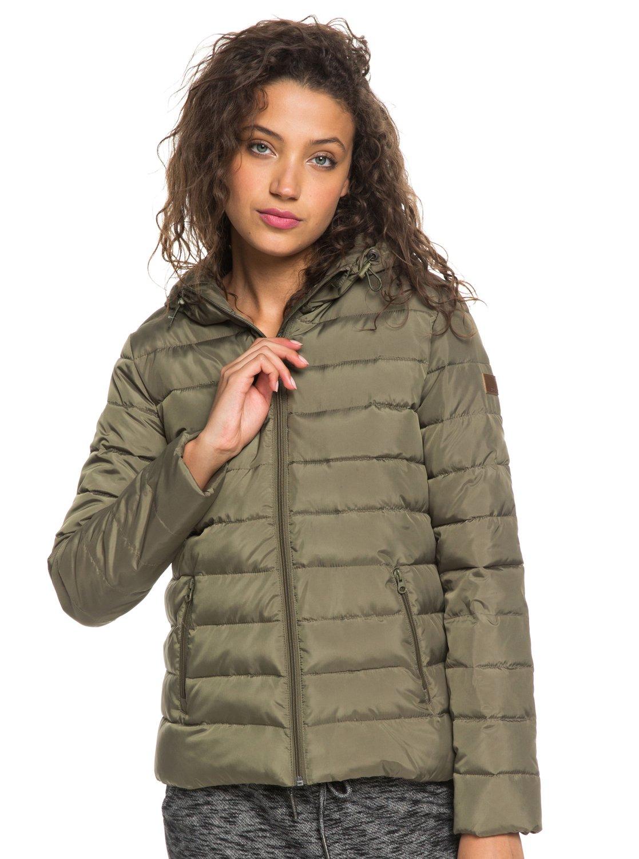 3 Rock Peak Water-Repellent Hooded Padded Jacket Green ERJJK03250 Roxy 0efe5b54fd2