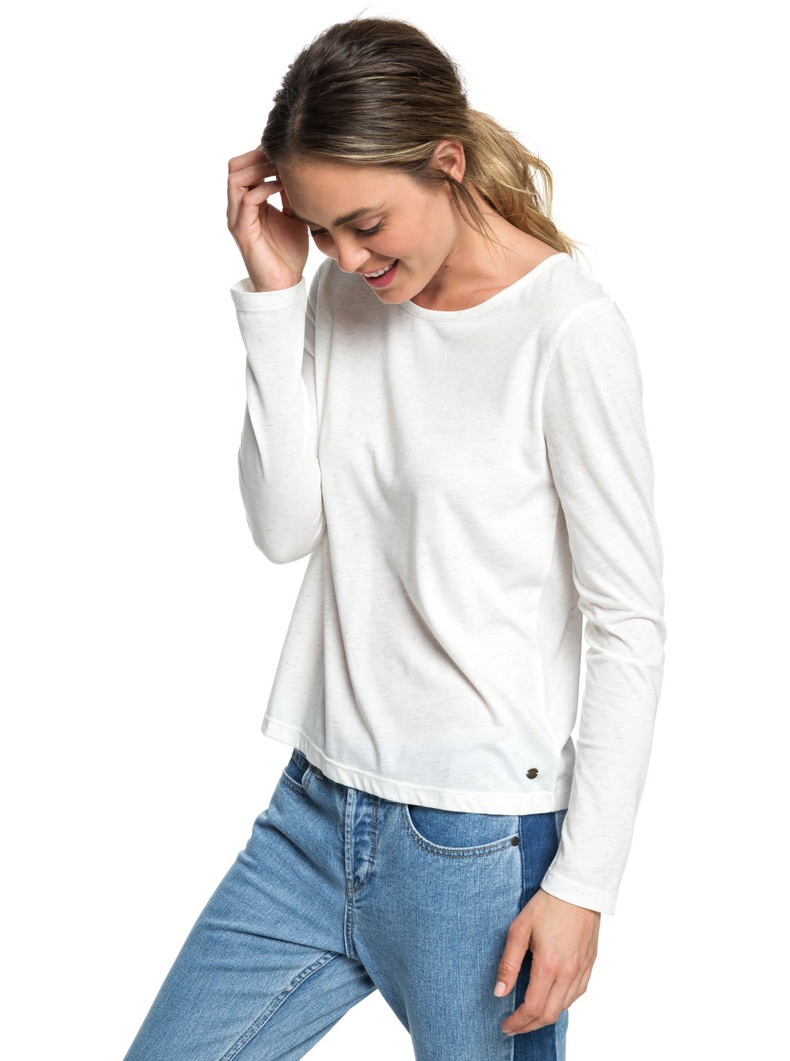 de larga ERJKT03470 Roxy para Lonely 0 Top Blanco manga Mujer Night tfPnqwF