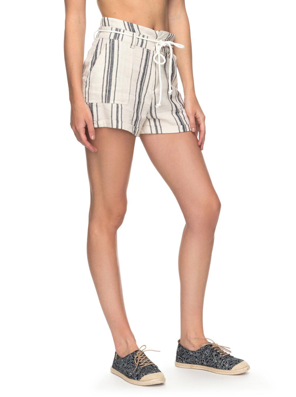 2 San Salvador Stripy - Short de Lino para Mujer Blanco ERJNS03149 Roxy f2ed5dc353cf