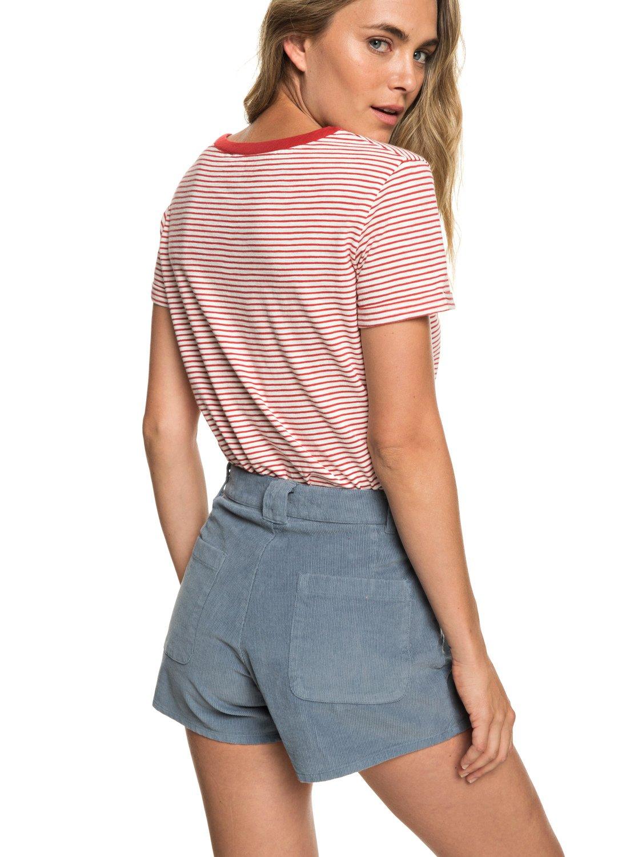 3 Boy Rules - Short taille haute en velours pour Femme Bleu ERJNS03208 Roxy 919b368ef27