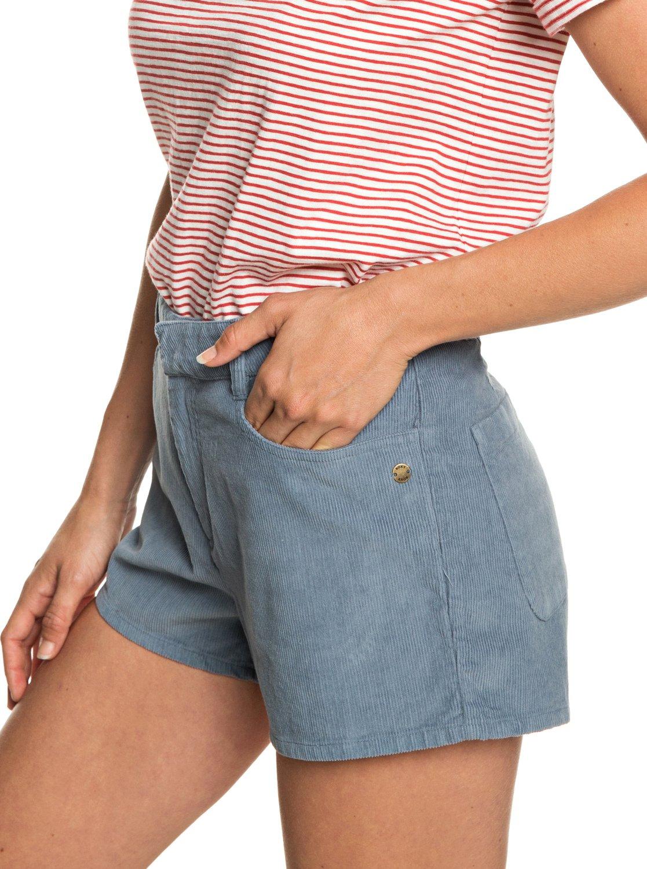 1 Boy Rules - Short taille haute en velours pour Femme Bleu ERJNS03208 Roxy b1e82636fb9