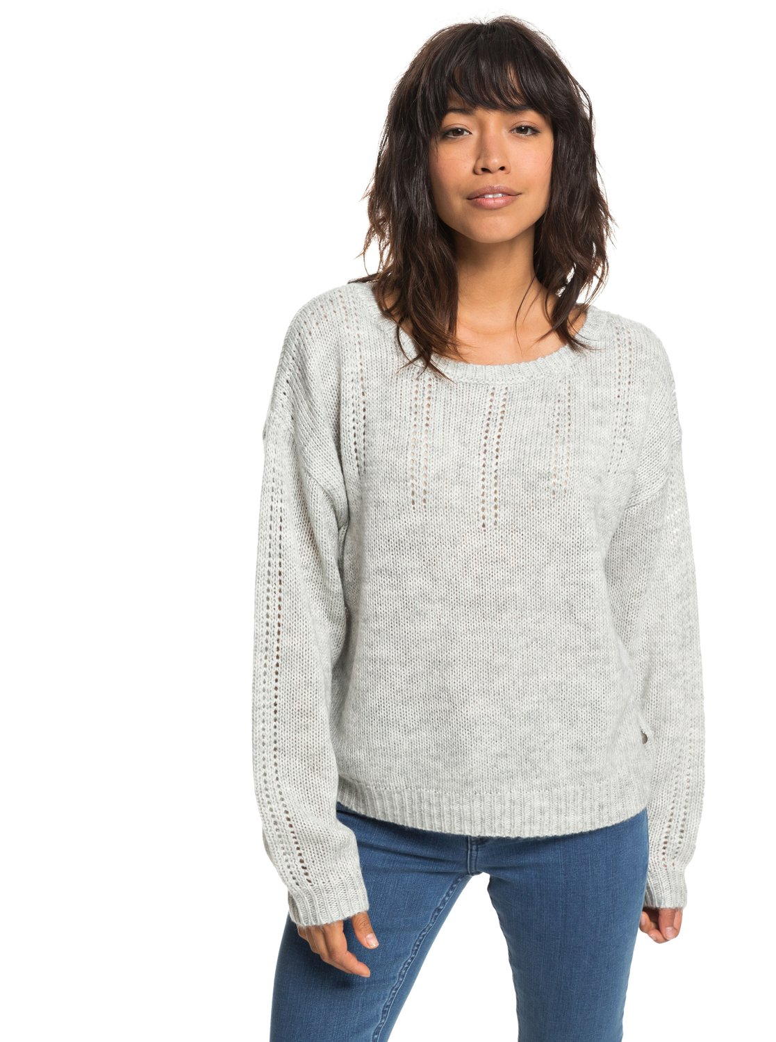 13be854c1187 0 Sunny Street - Pull col rond pour Femme Gris ERJSW03285 Roxy