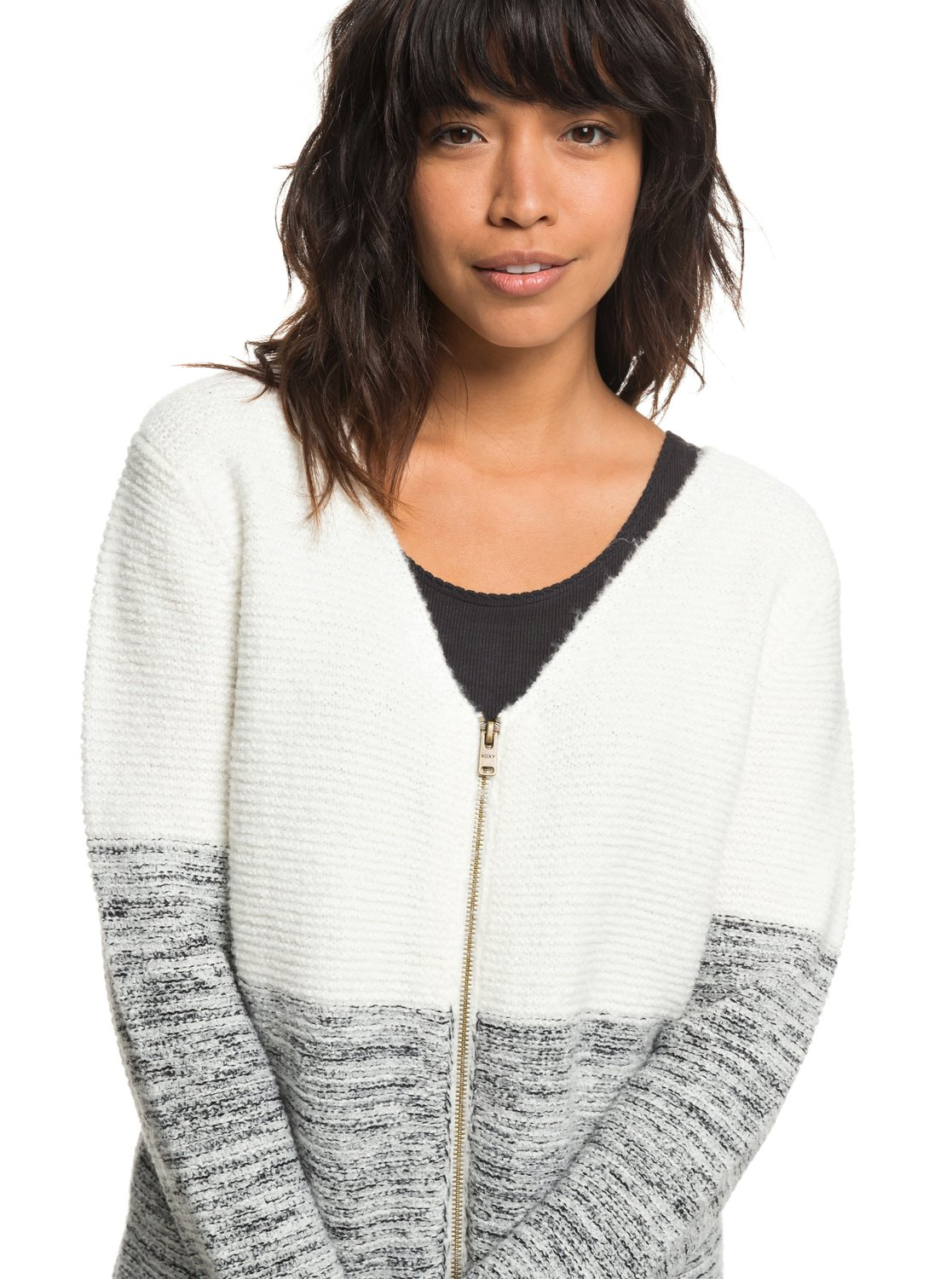 0 The Way Of Craft - Zip-Up Cardigan for Women White ERJSW03288 Roxy d4aefd757604