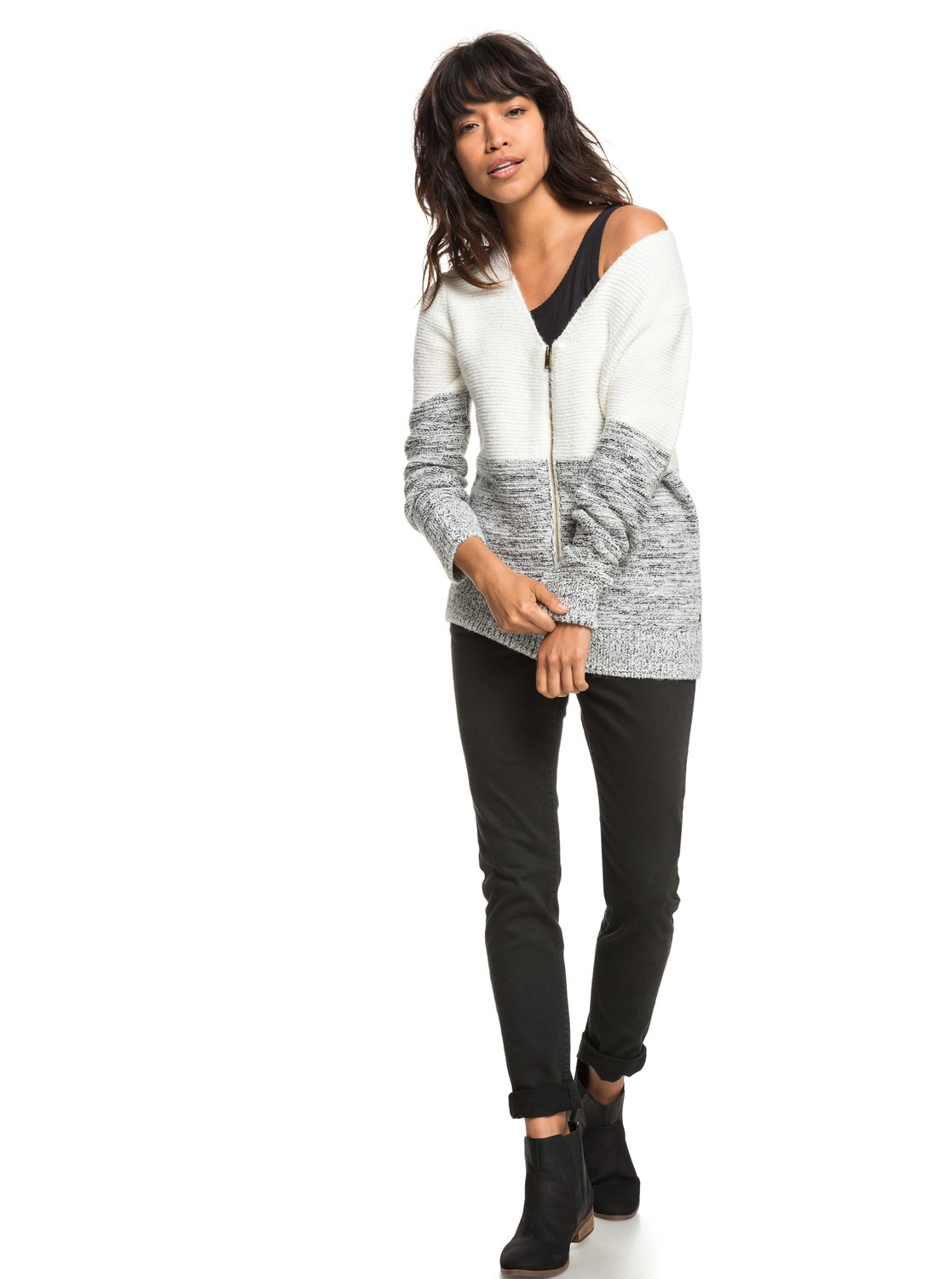 3 The Way Of Craft - Zip-Up Cardigan for Women White ERJSW03288 Roxy c983bf43ff03