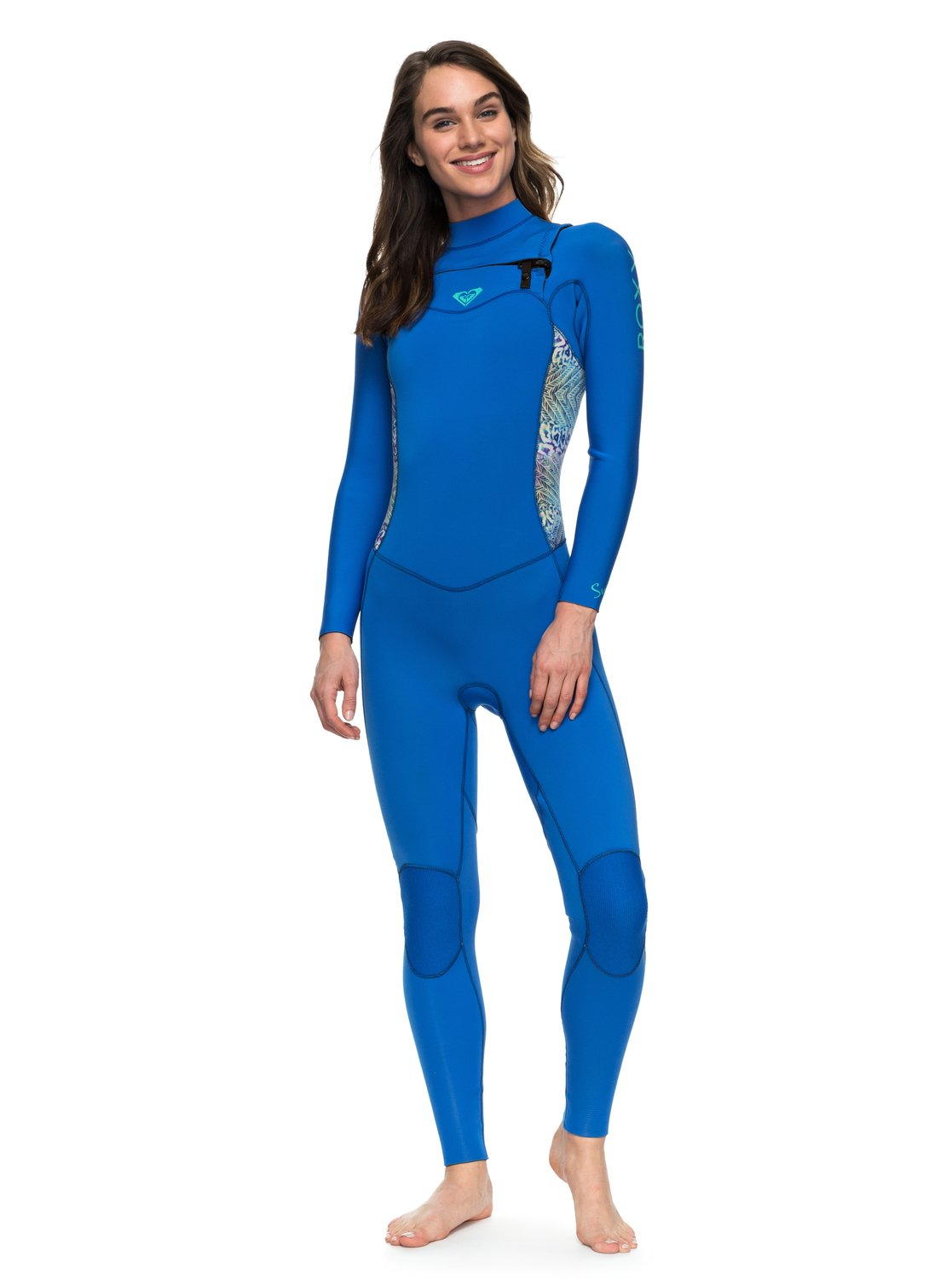 dbb114777a 0 4 3mm Syncro Series - Chest Zip GBS Wetsuit for Women Blue ERJW103022 Roxy