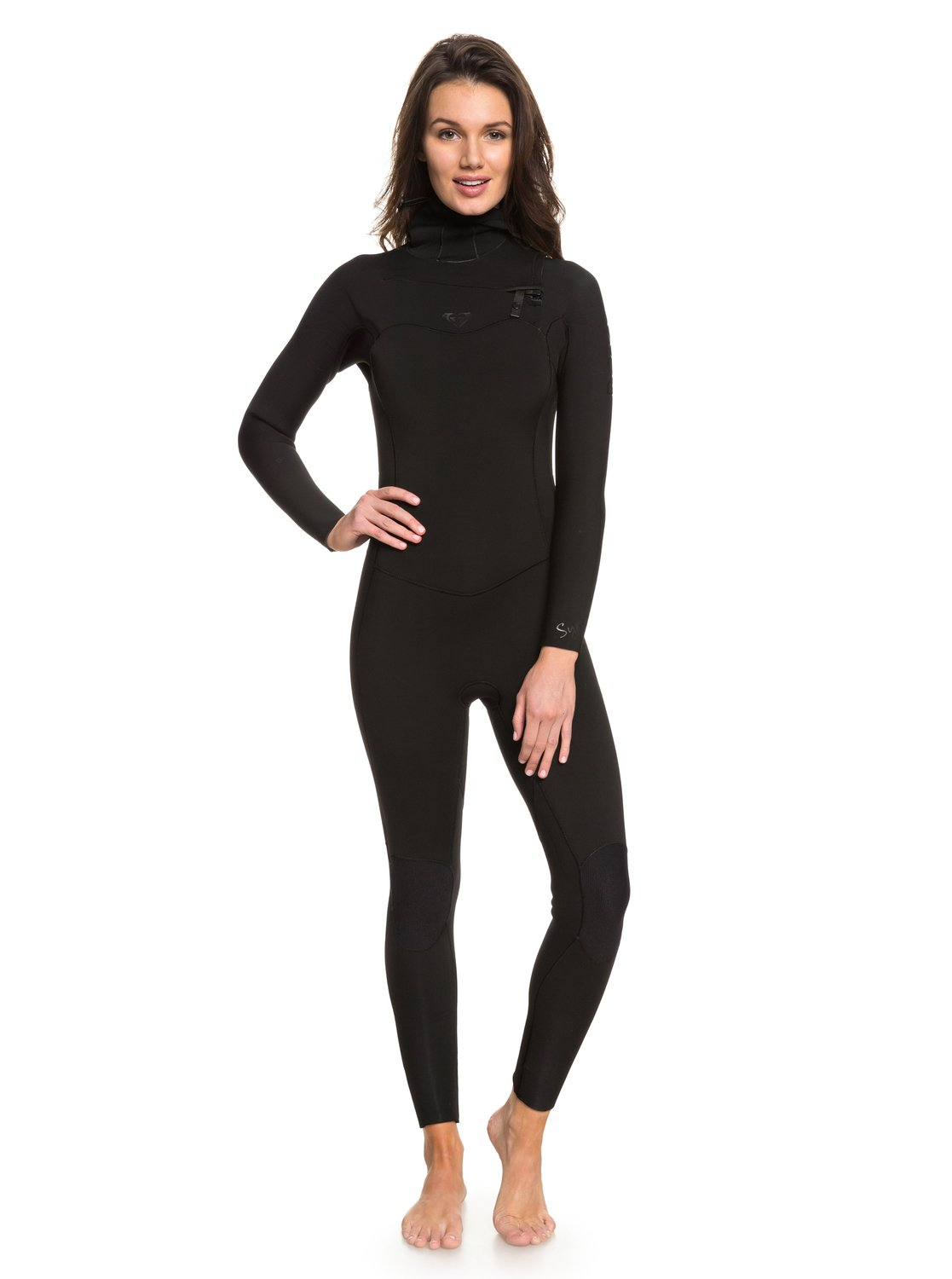 0 5 4 3mm Syncro Series Hooded Chest Zip GBS Wetsuit Black ERJW203004 Roxy d68a249b6d51