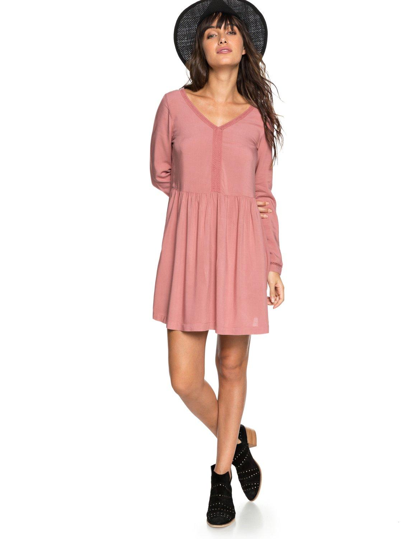 f50d40380eef6 0 Feel Alone - Long Sleeve Dress for Women Pink ERJWD03247 Roxy