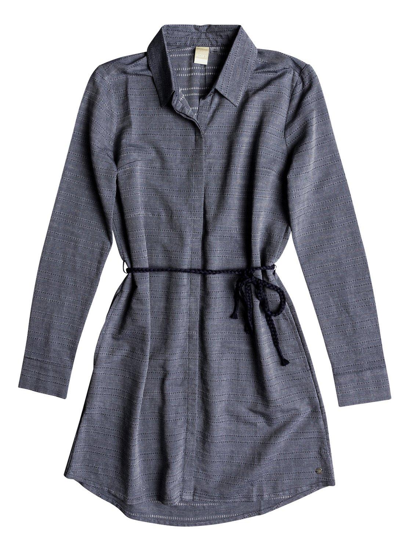 5876afd15a44 0 Crazy Whisper - Long Sleeve Shirt Dress for Women Blue ERJWD03254 Roxy