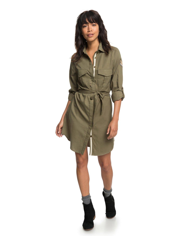 Khaki Sphere Long Sleeve Shirt Dress Erjwd03256 Roxy