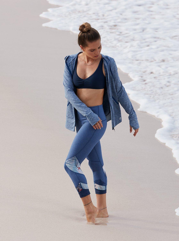 4 Diamond Hunter - Legging de sport 3 4 pour Femme Bleu ERJWP03022 Roxy 573b16cd3b5