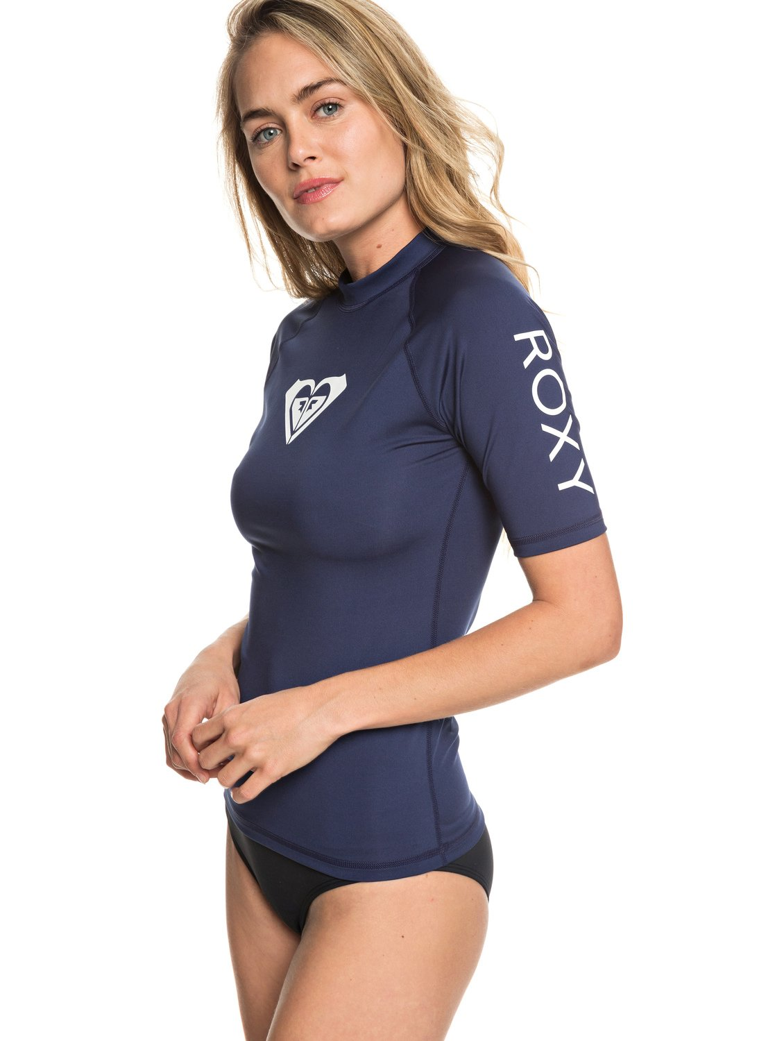 6eb8329bd6 1 Whole Hearted Short Sleeve UPF 50 Rash Guard Blue ERJWR03219 Roxy