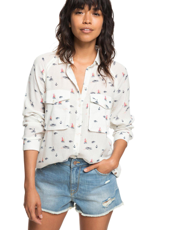 0 Juvia Long Sleeve Viscose Shirt White ERJWT03188 Roxy