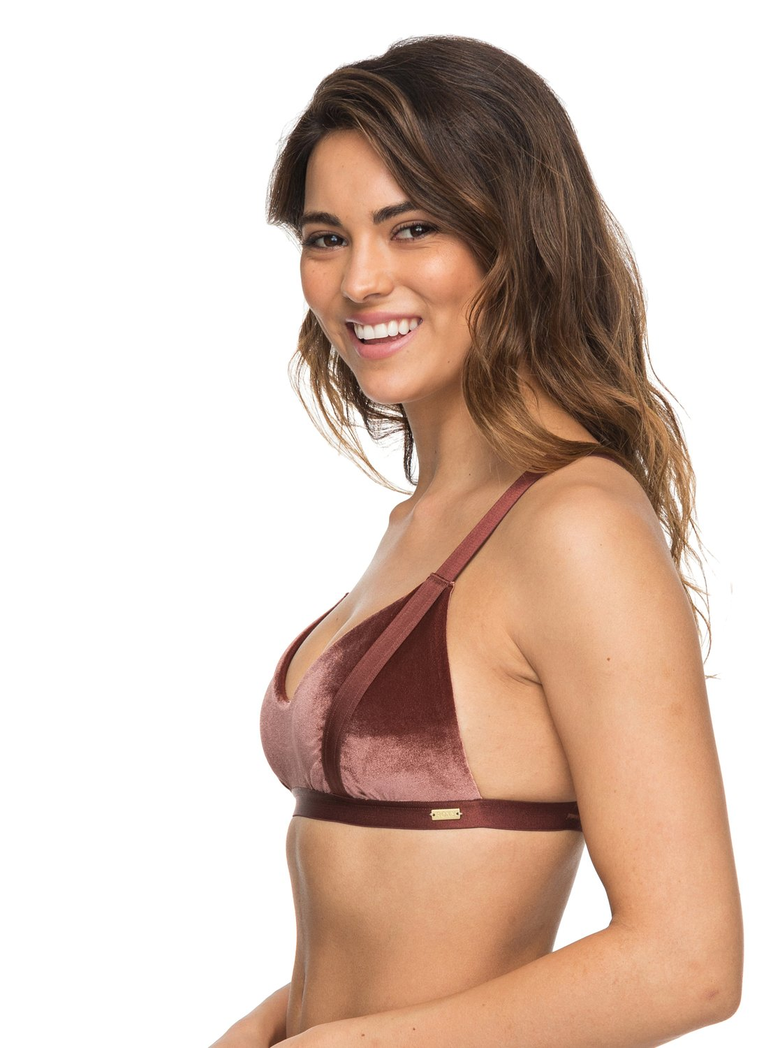 70b3d781fb03e 1 Western Escape Fixed Tri Bikini Top Brown ERJX303686 Roxy