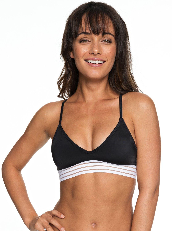 Roxy Fitness Athletic Tri Bikini Top black Bikinis