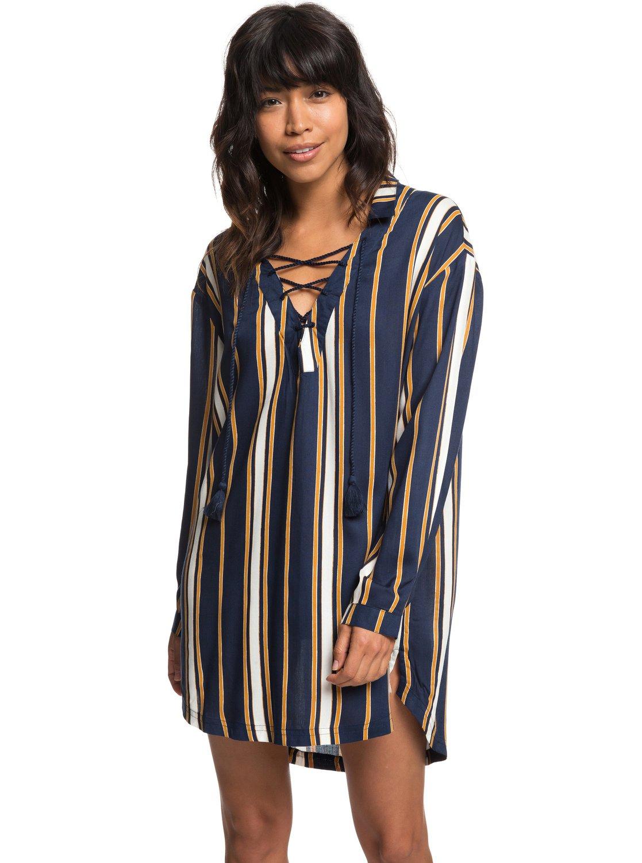 0 Lonely For You - Long Sleeve Shirt Dress for Women Blue ERJX603139 Roxy c5a7dacd919