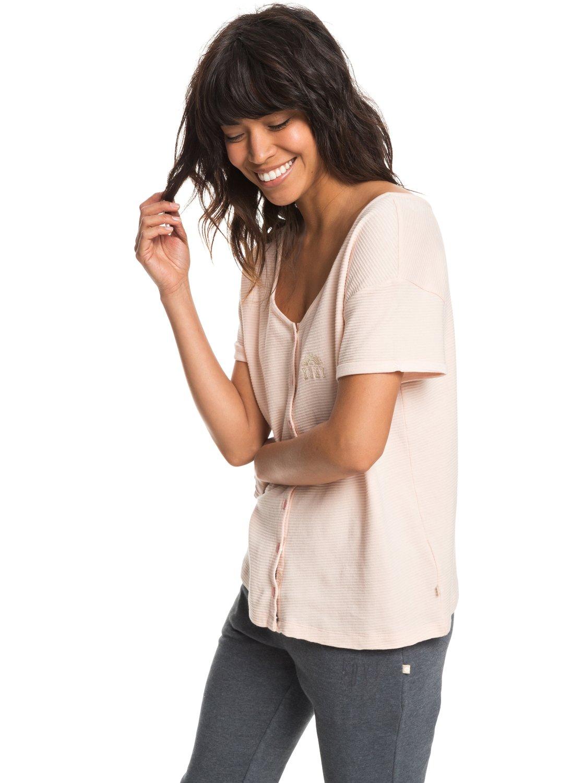 d0d67ccc1171 1 Never Give Up - T-shirt boutonné pour Femme Rose ERJZT04341 Roxy