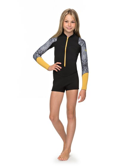 1375645e9d 0 2mm POP Surf - Long Sleeve Front Zip Springsuit for Girls 8-16 Black