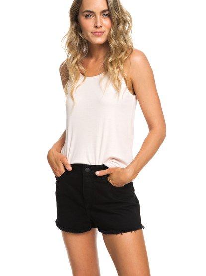 Suns Shadow Black - High Waist Denim Shorts for Women  ERJDS03199