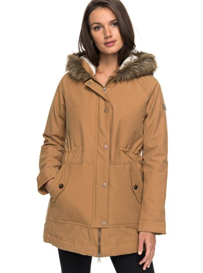 0 Mountain Song - Longline Hooded Jacket with Faux-Fur for Women Brown  ERJJK03195 Roxy 9f9e7d40b7