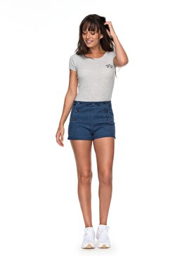 Nautical Anchor - High Waist Denim Shorts  ERJDS03159