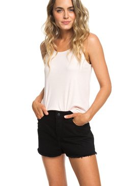 Suns Shadow Black - High Waist Denim Shorts for Women  ERJDS03199