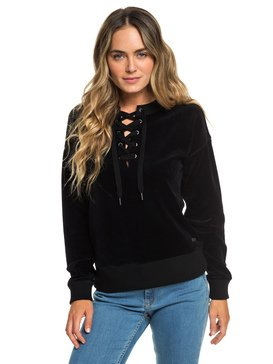 15681673ed ... Lucky Sunshine - Lace-Up Velour Sweatshirt for Women ERJFT03927 ...