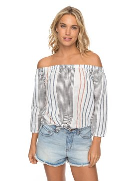 Crossing Stripes - Off The Shoulder Top  ERJWT03190