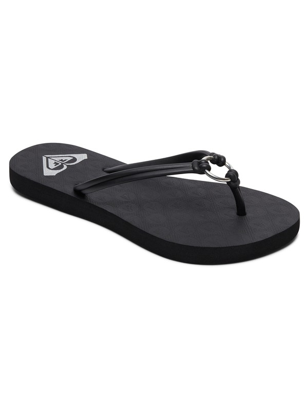 0 Girls 7-14 Solis Flip-Flops Black ARGL100188 Roxy