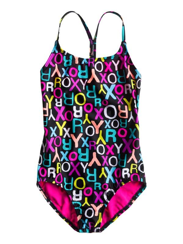 0 Girls 7-14 Roxy Border T-Back One Piece Swimsuit  ARGX100003 Roxy
