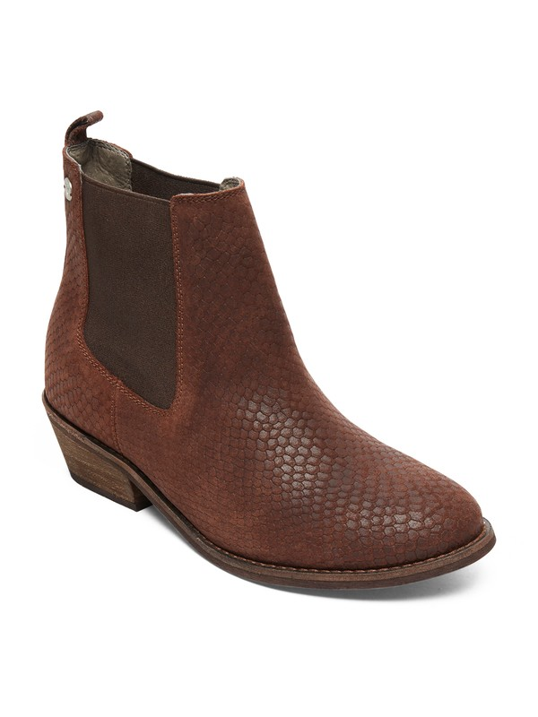 0 Karina Leather Ankle Boots Brown ARJB700589 Roxy