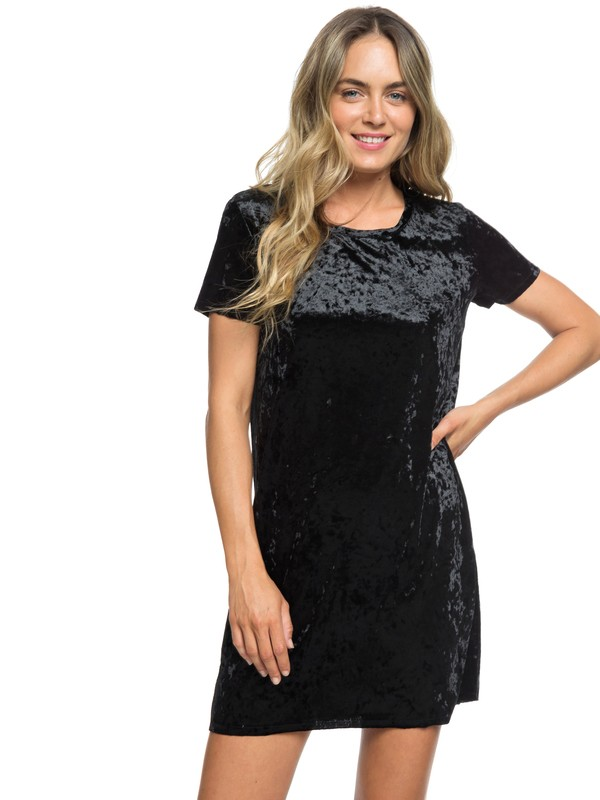 0 Cuffing Season Short Sleeve Velvet Dress Black ARJKD03165 Roxy