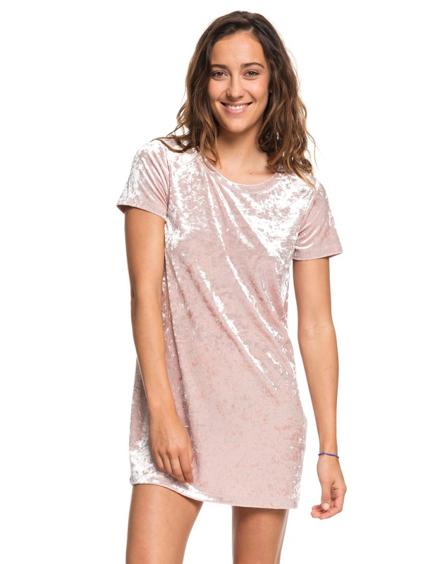 0 Cuffing Season Short Sleeve Velvet Dress Pink ARJKD03165 Roxy