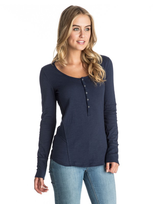 0 Oar Else Long Sleeve Henley Top  ARJKT03154 Roxy